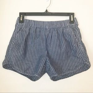 Madewell Striped Cotton Linen Chambray Shorts
